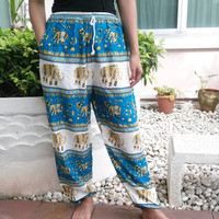 Blue Elephant Print Trousers Yoga Harem Pants Hippie Clothing Baggy Boho Style Gypsy Tribal Comfy Cloth For Beach Summer Unisex elegant Thai