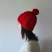 Hand Knitted Cable Chunky Beanie in Carmen Red - Beanie with Pom Pom - Seamless - Wool Blend - Winter Fall - Made to Order