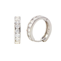Sterling Silver Huggie Earrings Hinged Hoops White CZ Cubic Zirconia 14mm x 3mm