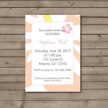 Peach and Pink Hawaiian Bridal Shower Invitations
