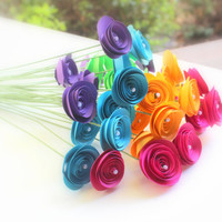 Wedding Paper Flowers, Multicolored Rose Colors, Wedding flowers, Wedding favors, Paper flowers, flowers