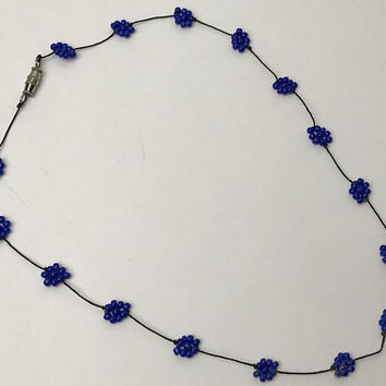 Vintage 90s Beaded Choker Necklace / Blue Seed Bead Flowers / Black Ultra Thin Cord / Retro 1990s Teen Girl Jewelry / Clueless Style Choker