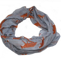 Beautiful Soft Over Sized Fox Print Scarf / Shawl -  Grey / Gray Colour