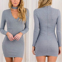 Winter Spring Fashion Long Sleeve Knitted Party Dress Sexy Black V-Neck Bodycon Sweater Dress for Women +Free Christmas Gift -Random Necklace