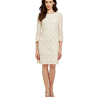 Jessica Howard Lace Shift Dress - Ivory/Gold
