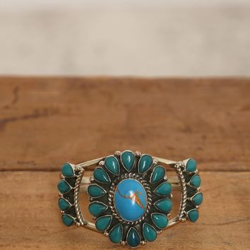 Stone Flower Cuff - Teal - What's New at Gypsy Warrior