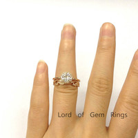 Round Moissanite Engagement Ring Sets Pave Diamond Wedding 14K Rose Gold 6.5mm