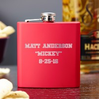 Varsity Red Engraved Hip Flask