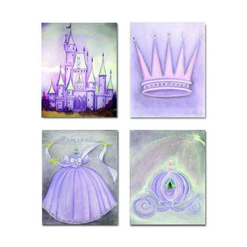 Princess Purple SET OF 4 Art Prints, Nursery Art, Cinderella, Girl Nursery Decor, Princess Nursery Prints, Princess wall art, Princess decor