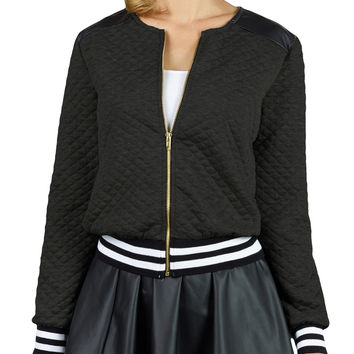 LE3NO Womens Quilted Zip Up Moto Biker Jacket with Pockets (CLEARANCE)