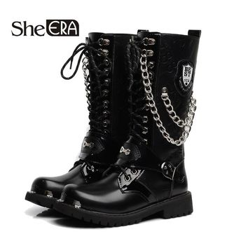 She ERA Army Boots Men High Military Combat Boots Metal Chain Boots