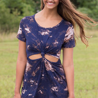 Navy, Brown and Ivory Tie-Dye Knot/Cut Out Front Mini Dress