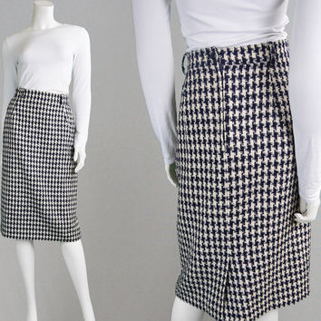Vintage 80s Tweed Skirt Houndstooth Skirt Navy Blue & White High Waisted Knee Length Skirt Wool Skirt Boucle Skirt Pencil Skirt Knit Skirt