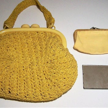 Mid CenturyYellow Crochet Handbag, Plastic Frame, Matching Change Purse Mirror, Spring Fashion Accessory, Vintage Handbag  817