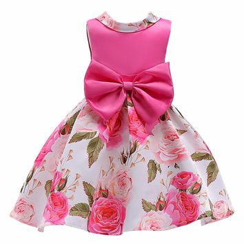 Baby Girls Clothes Elegent Bowknot Princess Dress of Girl Birthday Wedding Party Dresses Kids Tutu dress Costume