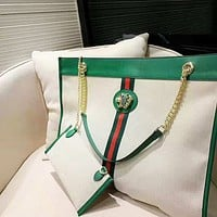 GUCCI chic casual lady canvas bag is a hot seller of striped crystal tiger head shoulder bag