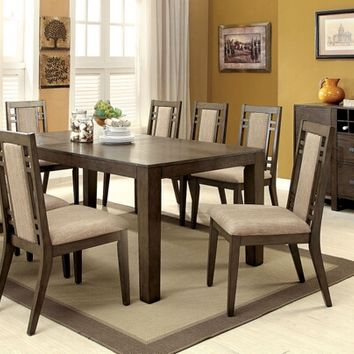 Furniture of america CM3213T-7PC 7 pc eris i weathered gray finish wood dining table set