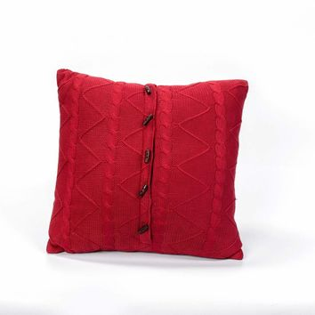 CRANBERRY CABLE AND TWIST KNIT PILLOW
