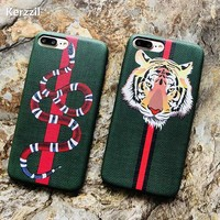 Kerzzil Luxury Snake Tiger Animal Case For iPhone X 10 Soft PU Leather Cartoon Cases For iPhone 7 8 6 6s Plus Gift Cover Capa