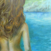 Fine art - Nude - Oil painting on canvas - landscape - Montenegro - Ulcinj - TEXTURED palette knife painting - Hand Painted Home Decor