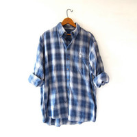 Vintage Plaid Flannel. Boyfriend Shirt. Button Up Shirt. White + Blue Flannel.