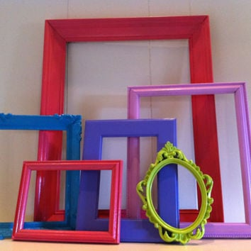 Dorm Decor, Vintage Painted Frames, Princess and the Pea, Unique Funky Home Decor