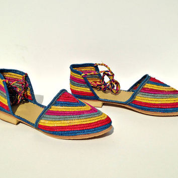 Coloured Stripped Sandals. Lace Up Flats. Raffia Summer Shoes. Handmade Shoes. Multicoloured Sandals. Rafia Espadrilles. Raphia Shoes.