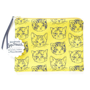 Cute Cats Small Flat Pouch | Green Gold