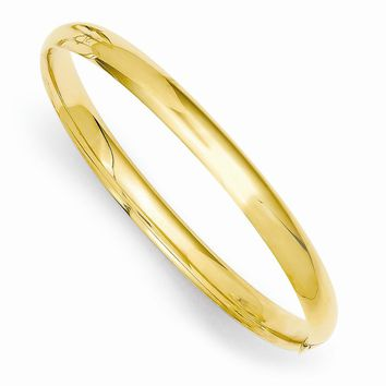 14k Yellow Gold 3/16 Polished Hinged Baby Bangle Bracelet