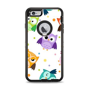 The Cartoon Emotional Owls with Polkadots Apple iPhone 6 Plus Otterbox Defender Case Skin Set