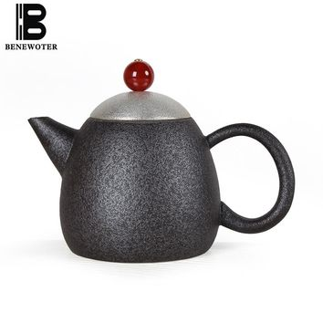 180ml Vintage Handmade Japanese Ceramic Black Pottery Metal Silver Teapot Chinese Kung Fu Tea Set Tea pot Tea Maker Drinkware