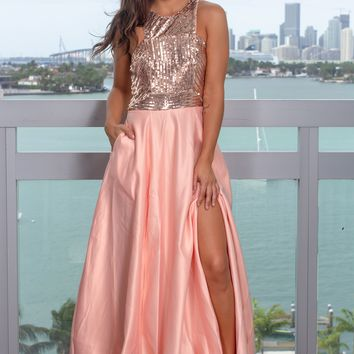 Rose Gold Sequin Top Maxi Dress with Pockets