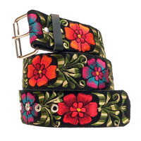 Leather wide belt with traditional Guatemalan embroidery - Doble Flor (Double Flower) Multiple Colors - Size Small, Medium, XLarge - DFWB1