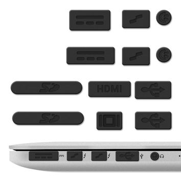 12PCS Silicone Anti-dust Plugs Protection Set for Apple MacBook Pro 13 15 Retina / Air 11 13 Laptop Dust Plug Ports Case Cvoer