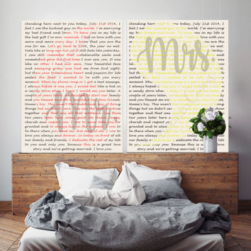 Yin Yang Wedding Vow Canvas Art set of 2, 1st Anniversary Gift Canvas, Custom Vow Art