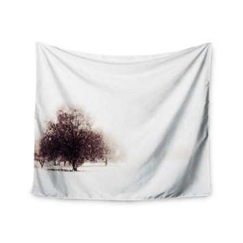 "Sylvia Coomes ""Winter Landscape"" Maroon White Wall Tapestry"