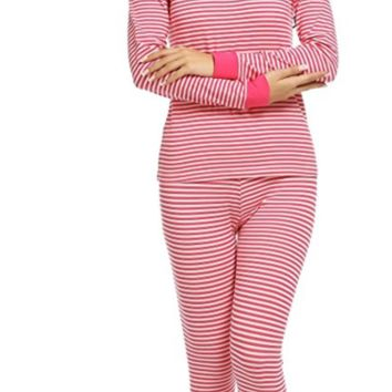 Pajama Sets Womens Fitted 2 Pcs Cotton Pjs Long Top & Pant