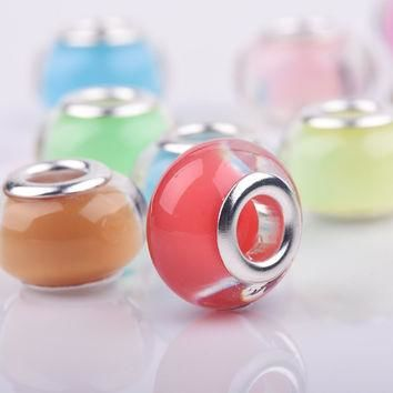 Charms For Bracelets 10Pcs/Lot Mixed Candy Color Smooth Plastic Acrylic fit European P