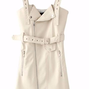 Leather Trench Mini Dress