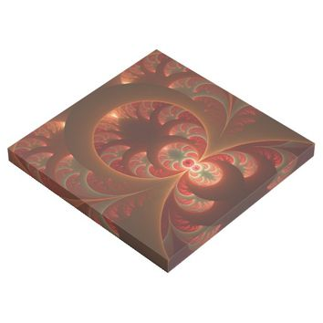 Luminous abstract modern orange red Fractal Gallery Wrap
