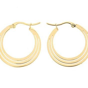Ben and Jonah Stainless Steel Gold Plated 3 Layered Crescent Hoop Earring