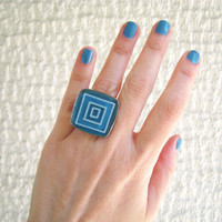 Turquoise blue geometric statement ring concentric squares cyan azure minimal abstract silver adjustable hand painted greek summer jewelry
