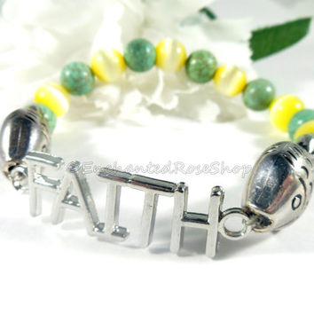 Inspirational Christian Jewelry Faith Bracelet, Boho Chic Beaded Bracelet, Faith Christian Bracelets, Hippie Gypsy Handmade Yellow Bracelet