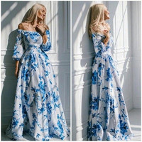 2015 Summer Sexy Club Dress Elegant Print Lace Maxi Dress = 5738885249