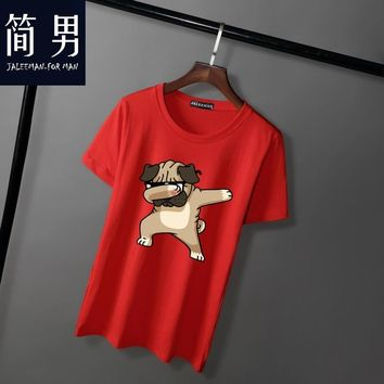 Jalee Ma New Arrivals Fashion Dancing dog Printed T-Shirt Men's Dogs Animal T Shirt Summer High Quality Hipster Tee Tops men 5XL