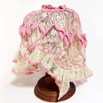 Vintage Boudoir Cap Flapper Night Cap Ladies Crochet and Lace Bonnet Bed Cap Hat Needlework Nightcap