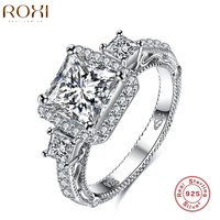 ROXI Engagement Rings Silver Charm for Women Christmas Gift Three Zircon 925 Ste