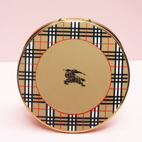 Powder Compact, Burberry Accessory, Burberrys of London, Compact Mirror, Vintage Designer, Designer Accessory, Beige, Enamel - 1980s / 1990s