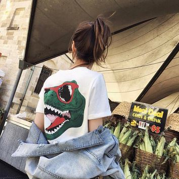 KUYOU Spring and Summer 2019 Cash Green Tyrannosaurus Dinosaur Printed Short T Dresses Let You Overlord