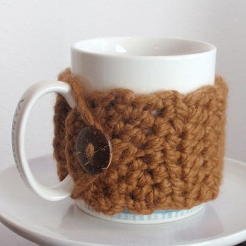 Coffee Cozy HAZELNUT crocheted Chunky Coffee Sleeve or Mug Cozy Coconut Button Acrylic and Lambs Wool Gift for Daughter in Law, Mom